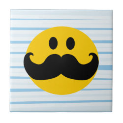 Small Ceremic Tile (4.25' x 4.25') with Mustache with Monocle Smiley design