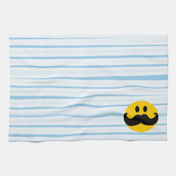 Kitchen Towel 16' x 24' with Mustache with Monocle Smiley design
