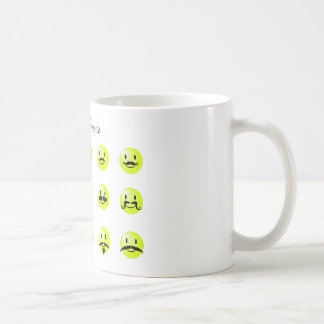 Mustache smileys showing the difference coffee mug