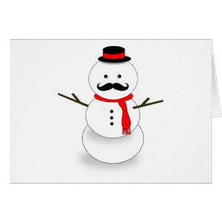 mustache snowman note card