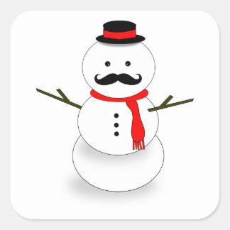 mustache snowman square sticker