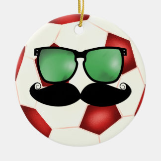 Mustache Soccer Ball Ornament