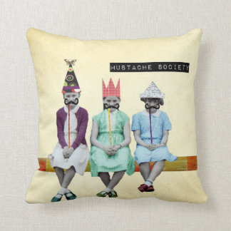 Mustache Society Vintage Image Pillow