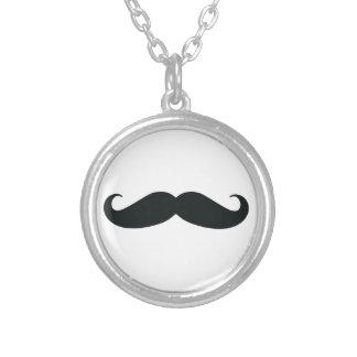 Mustache Stache Round Pendant Necklace