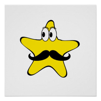 Mustache Star Cartoon Print