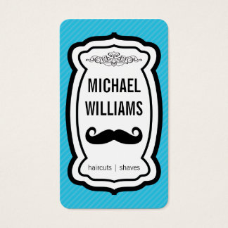 Mustache / Stripes (blue) Business Card