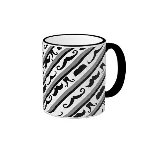 Mustache Stripes Ringer Coffee Mug
