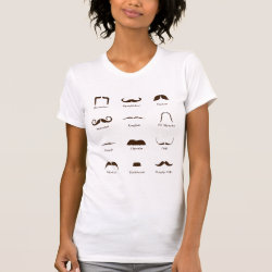Women's American Apparel Fine Jersey Short Sleeve T-Shirt with Mustache Style ID Chart design