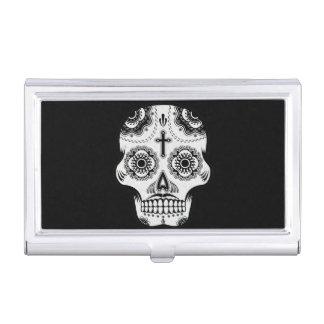 Mustache sugar skull business card case