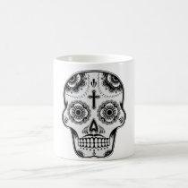 sugar skull, tattoo, skull, mustache, vintage, day of the dead, cool, funny, geometric, urban, fantasy, dia de los muertos, calaveras, bone, symbol, street, religion, mexican, original, mug, Caneca com design gráfico personalizado