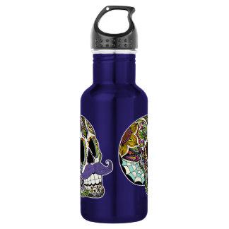 Mustache Sugar Skull (Color) Liberty Bottle 18oz Water Bottle