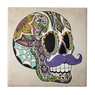 Mustache Sugar Skull (Color) Tile