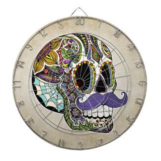 Mustache Sugar Skull Dartboard