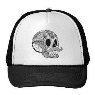 Mustache Sugar Skull Hat - B&W Version