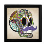 Mustache Sugar Skull Jewelry Box