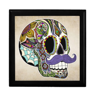 Mustache Sugar Skull Jewelry Box