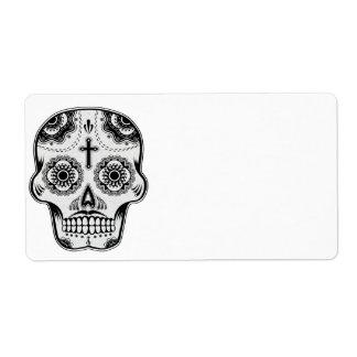 Mustache sugar skull label