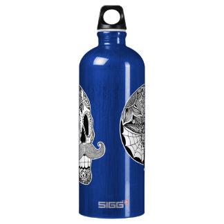 Mustache Sugar Skull Liberty Bottle (B&W) SIGG Traveler 1.0L Water Bottle