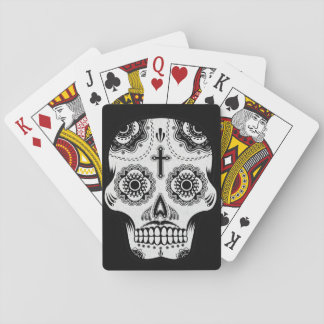 Mustache sugar skull playing cards
