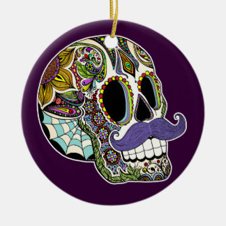 Mustache Sugar Skull Ornament (Color)