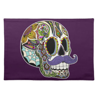 Mustache Sugar Skull Placemats (Color Version)