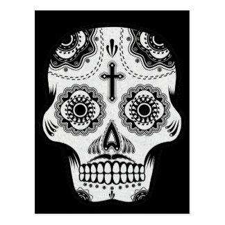 Mustache sugar skull postcard