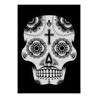 Mustache sugar skull posters