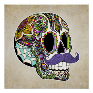 Mustache Sugar Skull Poster - Vintage Style
