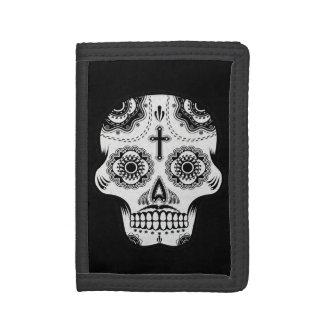 Mustache sugar skull trifold wallet