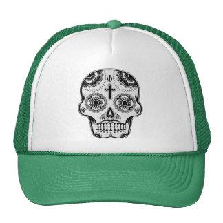 Mustache sugar skull trucker hat