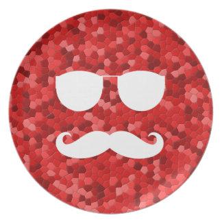 Mustache Sunglasses Red Tile Melamine Plate