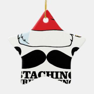 Mustache T-shirt - Staching thru the snow M.png Ceramic Ornament