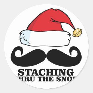 Mustache T-shirt - Staching thru the snow M.png Classic Round Sticker
