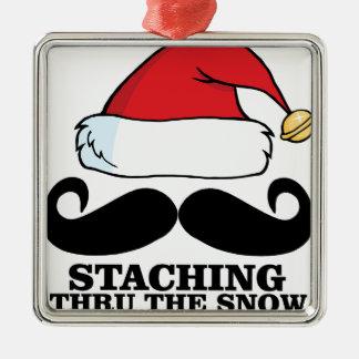 Mustache T-shirt - Staching thru the snow M.png Metal Ornament