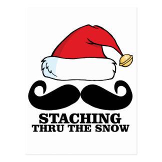 Mustache T-shirt - Staching thru the snow M.png Postcard