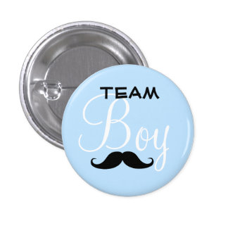 Mustache Team Boy Baby Shower Button