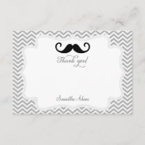 Mustache Thank You Card