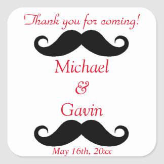 Mustache Thank You For Coming! Gay Wedding Square Sticker