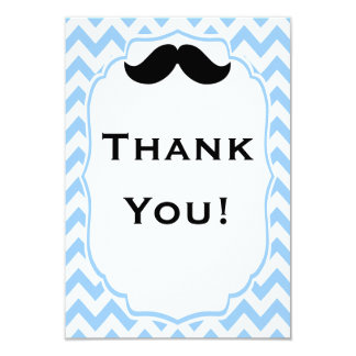 "Mustache Thank you note cards 3.5"" X 5"" Invitation Card"