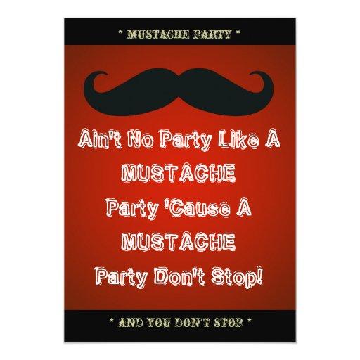 Mustache Theme Party Custom Invitation