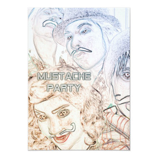 mustache theme party : neon staches card