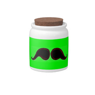 Mustache Tip Jar Neon Green Candy Dish