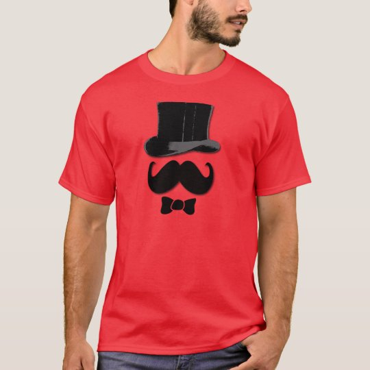 Mustache, top hat and bow tie