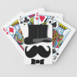 Mustache, top hat and bow tie bicycle poker cards