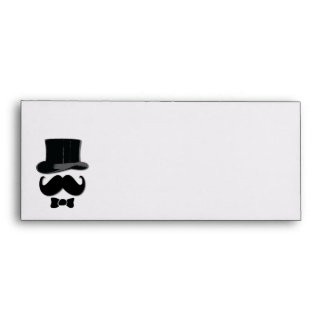 Mustache , top hat and bow tie envelope