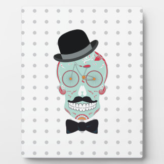 Mustache Top Hat Bicycle Skull Wall Plaque