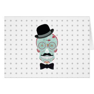 Mustache Top Hat Bicycle Sugar Skull Calavera Card