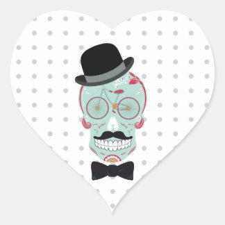 Mustache Top Hat Bicycle Sugar Skull Calavera Heart Sticker