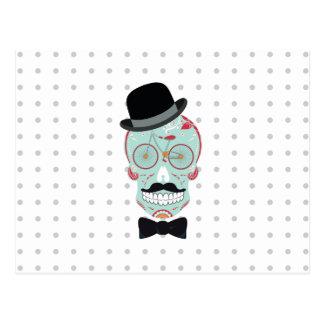 Mustache Top Hat Bicycle Sugar Skull Calavera Postcard