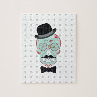 Mustache Top Hat Bicycle Sugar Skull Puzzle